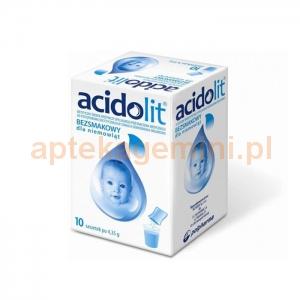 POLPHARMA Acidolit, bezsmakowy, dla niemowląt, 10 saszetek