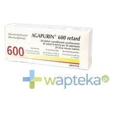 ZENTIVA A.S. Agapurin SR 600 tabletki o przedłużonym uwalnianiu 600mg 20 sztuk