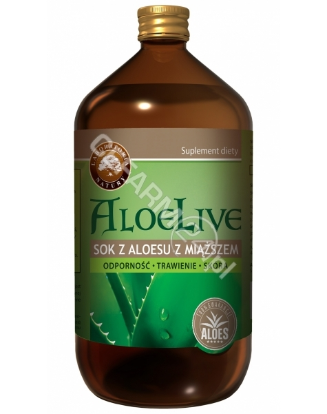LABORATORIA NATURY SP Z O.O. AloeLive - sok z aloesu z miąższem 1000 ml