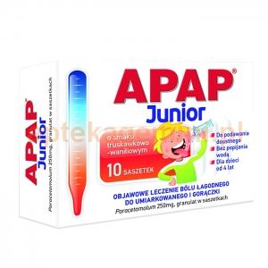 USP ZDROWIE Apap Junior, dla dzieci od 4 lat, granulat 250mg, 10 saszetek