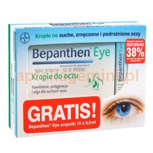 BAYER Bepanthen eye, krople do oczu, butelka, 10ml + Bepanthen eye, krople, ampułki, 10 sztuk po 0,5ml