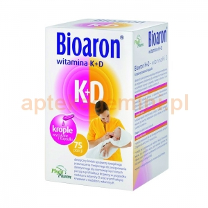 PHYTOPHARM KLĘKA Bioaron Witamina K+D, dla dzieci od 2 tygodnia życia, 75 kapsułek twist-off