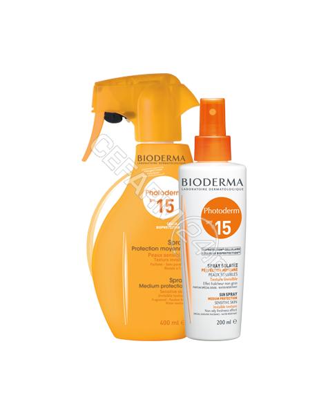 BIODERMA Bioderma photoderm spray spf 15 400 ml (dla skóry ciemnej, opalonej)