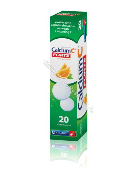 POLFA ŁÓDŹ Calcium c forte x 20 tabl musujących o smaku pomarańczowym (polfa łódź)