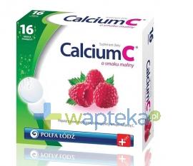 POLFA ŁÓDŹ S.A. Calcium C o smaku maliny Polfa Łódź 16 tabletek 10634