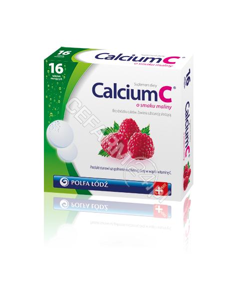 POLFA ŁÓDŹ Calcium c x 16 tabl musujących o smaku maliny (polfa łódź)