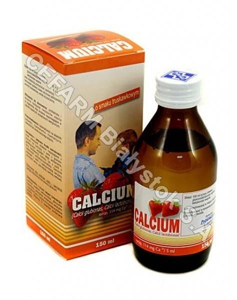 POLFARMEX Calcium syrop truskawkowy 150 ml (butelka szklana)