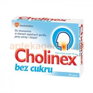 GLAXOSMITHKLINE Cholinex bez cukru, 150mg, 16 pastylek do ssania