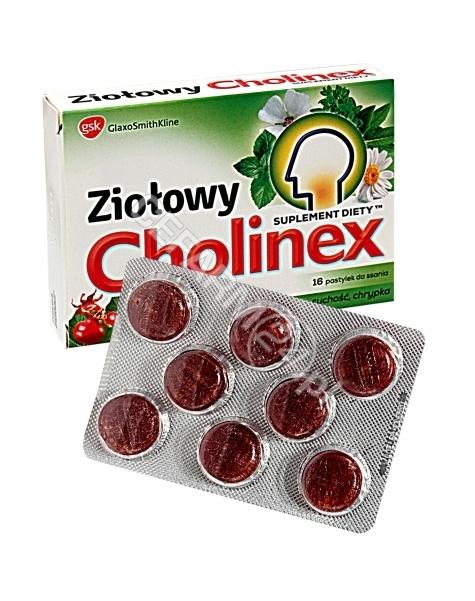 GLAXOSMITHKL Cholinex ziołowy o smaku dzikiej róży x 16 pastylek do ssania