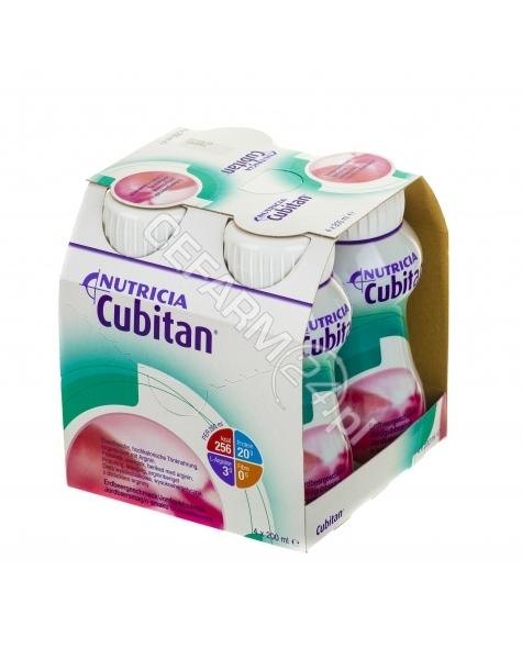NUTRICIA Cubitan truskawkowy - Nutridrink dla chorych z odleżynami, trudno gojacymi się ranami 4 x 200 ml