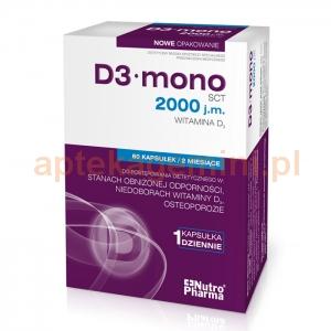 HOLBEX D3 Mono, Witamina D3 2000 j.m., 60 kapsułek