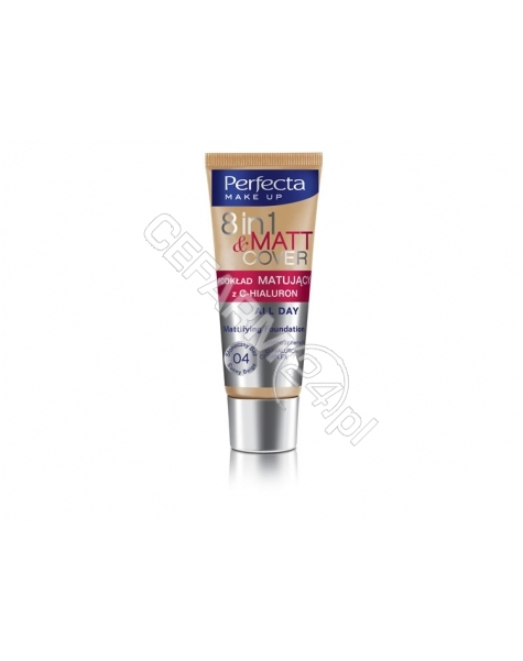 DAX COSMETICS Dax cosmetics perfecta 8w1 Matt & Cover podkład matujący z C - hialuron 04 słoneczny beż 30 ml