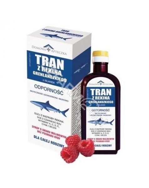 DOMOWA APTEC Domowa apteczka tran z rekina grenlandzkiego syrop o smaku malinowym 165 ml