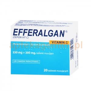 INPHARM Efferalgan 330mg z witaminą C, 20 tabletek musujących IMPORT RÓWNOLEGŁY