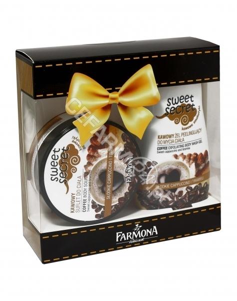 FARMONA Farmona promocyjny zestaw Sweet Secret Kawa - suflet do ciała 225 ml + peelingujący żel do mycia ciała 225 ml