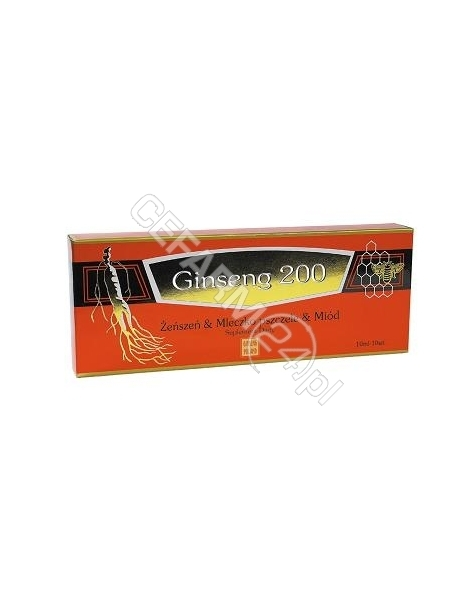 Ginseng Poland Ginseng 200 żeńszeń & mleczko pszczele & miód x 10 fiolek