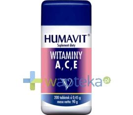 VARIA SP. Z O.O. Humavit V drożdże piwne + witamina A,C,E 200 tabletek