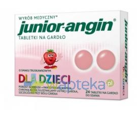NEPENTES S.A. Junior-angin Tabletki na gardło dla dzieci truskawkowe 24 tabletki