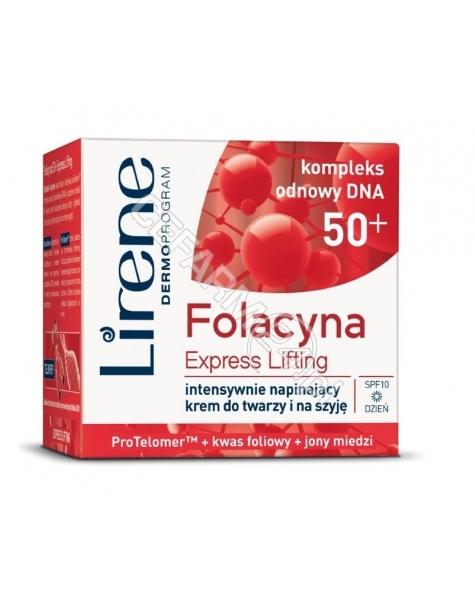 DR IRENA ERIS Lirene Folacyna 50+ Express Lifting intensywnie napinający krem do twarzy i na szyję na dzień spf10 50 ml