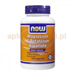 NOW FOODS Magnesium & Potassium Aspartate, Magnez i potas z tauryną, 120 kapsułek