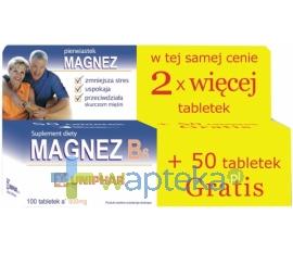UNI-PHAR SP Z O.O. Magnez + B6 500mg 50 tabletek + 50 gratis UNIPHAR