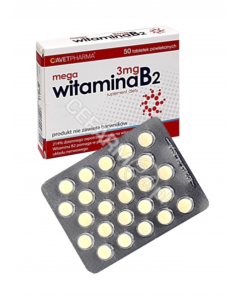 AVET Mega witamina b2 3 mg x 50 tabl powlekanych