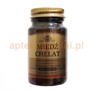 SOLGAR Miedź Chelat, Solgar, 100 tabletek