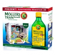 ORKLA HEALTH SP. Z O.O. Mollers Tran Norweski cytrynowy 250ml + Kolorowanka Akwarium 3D