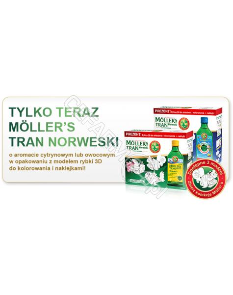 ORKLA HEALTH Mollers tran norweski o aromacie cytrynowym 250 ml + kolorowanka rybki (data ważności <span class=