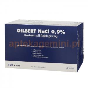 GILBERT Natrium Chloratum, Gilbert 0,9%, 100 ampułek po 5ml