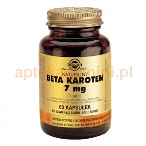 SOLGAR Naturalny Beta Karoten 7mg, Solgar, 60 kapsułek