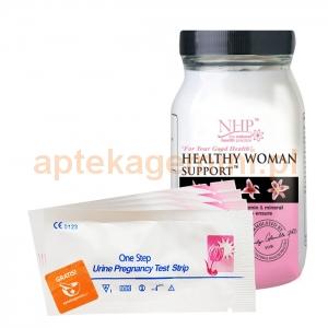 NATURAL HEALTH PRACTICE NHP, Healthy Woman Support, 60 kapsułek + ZESTAW TESTÓW: 3 OWULACYJNE, 1 CIĄŻOWY GRATIS