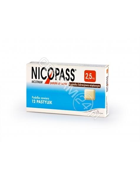 PIERRE FABRE Nicopass 2,5 mg x 12 pastylek do ssania o smaku lukrecjowo - miętowym