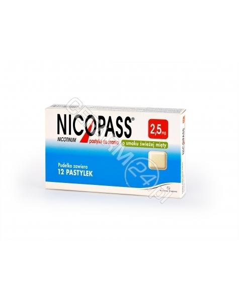 PIERRE FABRE Nicopass 2,5 mg x 12 pastylek do ssania o smaku świeżej mięty