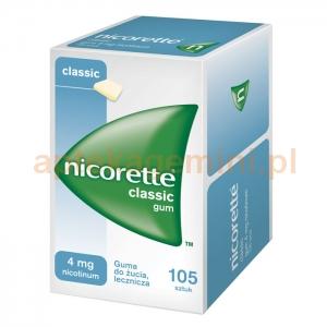 Johnson & Johnson Nicorette Classic, guma do żucia lecznicza, 4mg, 105 sztuk