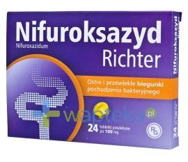 GEDEON RICHTER POLSKA SP.Z O.O. Nifuroksazyd 100 mg 24 tabletki RICHTER
