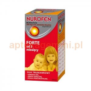 RECKITT BENCKISER Nurofen Forte, zawiesina doustna dla dzieci, od 3 miesiąca, smak truskawkowy, 50ml