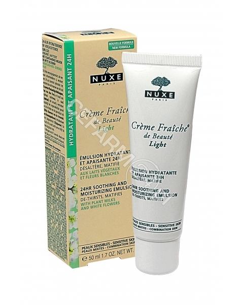 NUXE Nuxe creme fraiche de beaute light - 24-godzinna emulsja nawilżając i kojąca do skóry wrażliwej mieszanej 50 ml (nowa formuła)