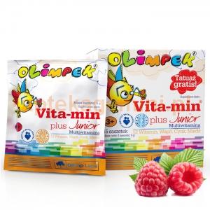 OLIMP Olimp, Olimpek, Vita-min Plus Junior, dla dzieci powyżej 3 lat, smak malinowy, 15 saszetek