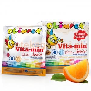 OLIMP Olimp, Olimpek, Vita-min Plus Junior, dla dzieci powyżej 3 lat, smak pomarańczowy, 15 saszetek