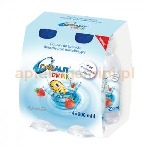 BIOMED Orsalit Drink, dla dzieci od 3 roku życia, smak truskawkowy, 4x200ml