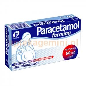 FARMINA Paracetamol Farmina 50mg, czopki, 10 sztuk