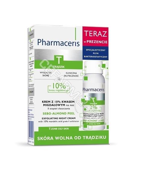 ERIS Pharmaceris T promocyjny zestaw - Sebo - almond peel krem z 10% kwasem migdałowym na noc 50 ml + Sebo - almond claris płyn bakteriostatyczny 30 ml