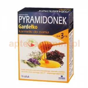 Adamed Pyramidonek Gardełko, karmelki do ssania, od 3 lat, 16 sztuk