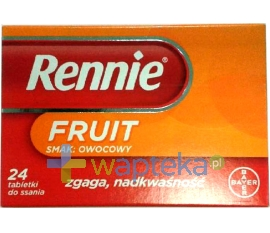 BAYER Rennie Fruit, 24 tabletki do ssania