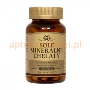 SOLGAR Sole mineralne w postaci chelatów aminokwasowych, Solgar, 90 tabletek