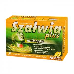 Aflofarm Szałwia Plus Antiseptic, 18 pastylek do ssania