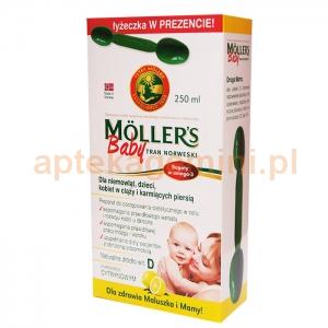 ORKLA HEALTH AS Tran Mollers Baby, cytrynowy, powyżej 6 miesiąca, 250ml + łyżeczka