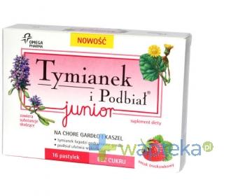 OMEGA PHARMA POLAND SP Z OO Tymianek i Podbiał Junior smak truskawkowy 16 pastylek
