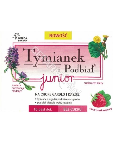 OMEGA PHARMA Tymianek i podbiał junior x 16 pastylek o smaku truskawkowym